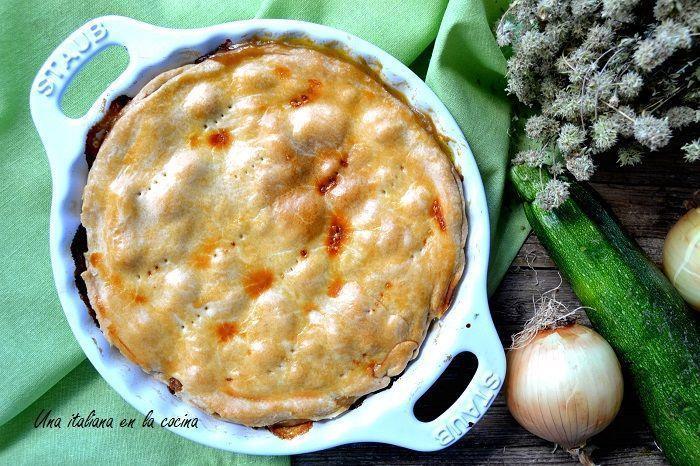Tarta de calabacín, jamón y queso