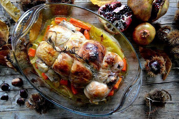 Pollo deshuesado relleno de castañas con salsa de granadas: Juego de blogueros 2.0