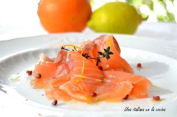 Carpaccio de salmón al perfume de cítricos