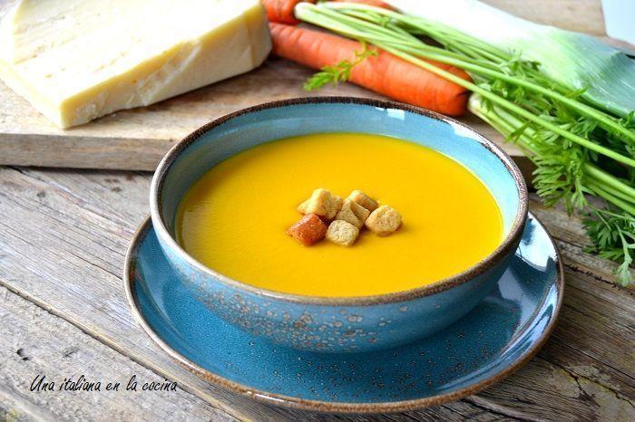 Crema de zanahorias y puerros a la italiana