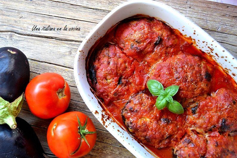 Berenjenas rellenas de carne a la italiana