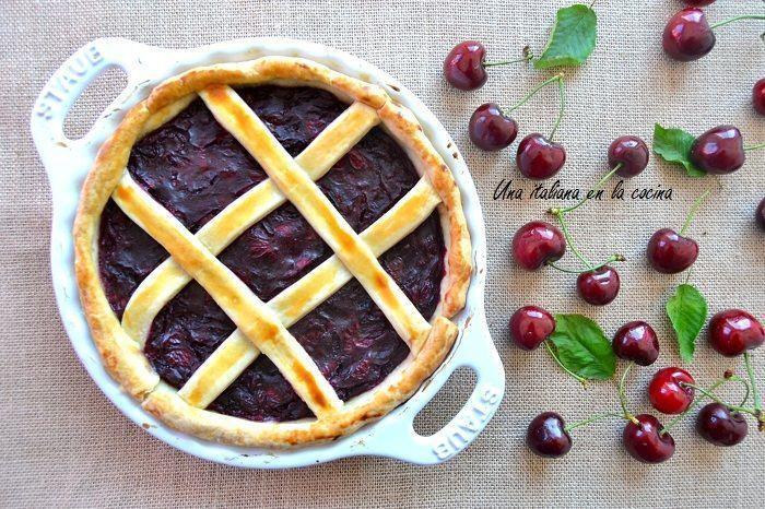 Tarta de cerezas ligera o crostata de cerezas